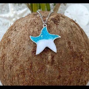 "Little Rock Starfish Necklace Blue/White Sand 20"""